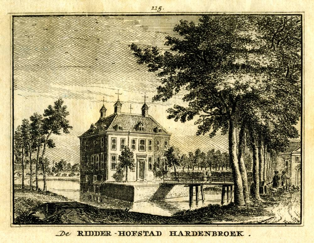 Kasteel Hardenbroek in Driebergen-Rijsenburg. Tekening Jan de Beijer, gravure Hendrik Spilman (Uit: Het Verheerlykt Nederland, Isaac Tirion, 1745/1774)